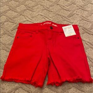 NWT red shorts size 10/12 girls 4 pockets